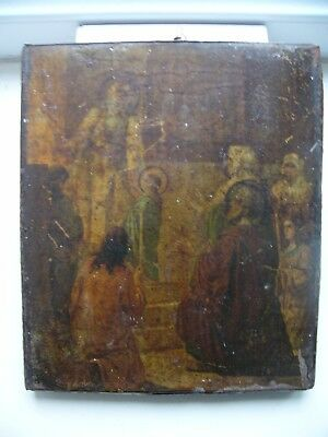 "Antique 19c Russian Orthodox Print on Metall Wood Icon ""Introduction to the Tem"""