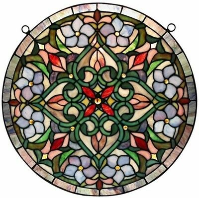 Traditional Round Hanging Window Wall Stained Colored Glass Panels Home Decor