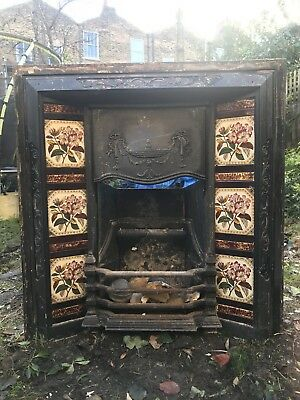 Reclaimed Original Cast Iron Fireplace Insert With Tiles Side Panels - Hackney