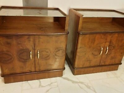EXTREMELY RARE  1920s Pair of Italian Wood Side Tables Bedsides Nightstands