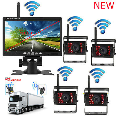 "7"" In Monitor+4 X Wireless Rear View Backup Camera Night Vision For RV Truck Bus"