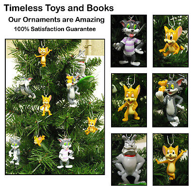 Tom and Jerry Christmas Ornaments 9 Piece Set Featuring Tom, Jerry, Spike