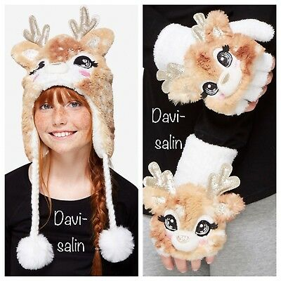 JUSTICE Girls Deer Beanie Hat Ear Flap and Gloves NWT