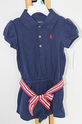 Ralph Lauren Polo Baby Girls Size 9 Months 1PC Outfit Short Top NWT NEW Navy