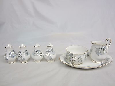 Lot  7 Royal Albert Silver Maple Pieces 2 Sets Salt & Peppers Cream, Sugar, Tray