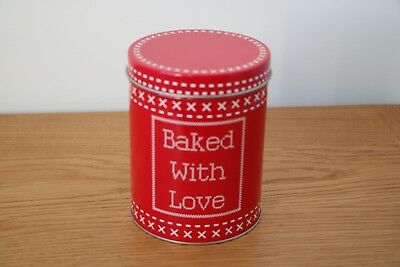 """Empty red and white tin container with lid """"Baked with Love"""" xmas present gift"""
