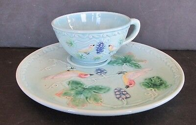 Zell German Majolica Snack Plate and Saucer Set Birds and Grapes Turquoise Blue