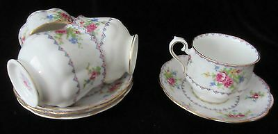 Four Sets Vintage England Royal Albert 'petit Point' Cup & Saucer