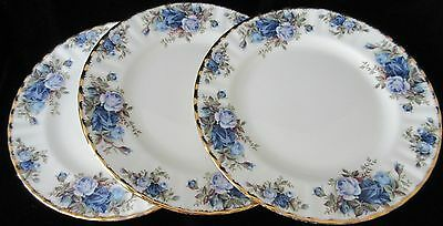 THREE VINTAGE ENGLAND ROYAL ALBERT 'MOONLIGHT ROSES' SALAD or LUNCHEON PLATES