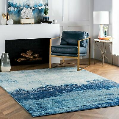 Nuloom Contemporary Modern Abstract Area Rug In Blue White Grey