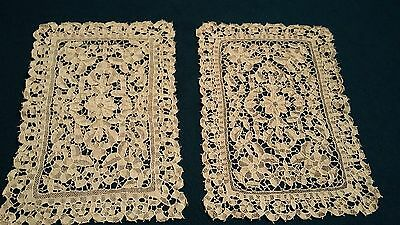pair of beautiful old handmade needlelace place mats point de venise