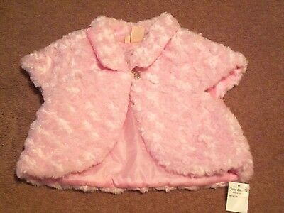 Baby Girls Toddler Juicy Couture Pink Faux Fur One Button Coat/Vest Size 3T