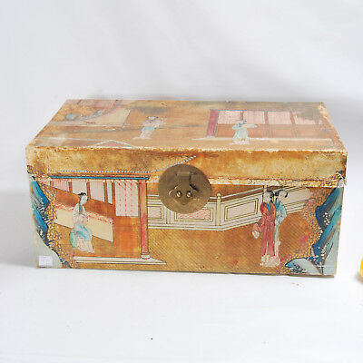 Vintage Antique Chinese Painted Pig Skin Vellum Leather Trunk