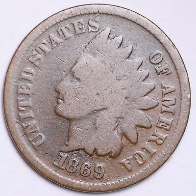 1869 Indian Head Cent Penny / Circulated Grade Good / Very Good 95% Copper Coin