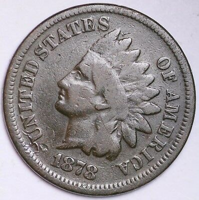 1878 Indian Head Cent Penny / Circulated Grade Good / Very Good 95% Copper Coin