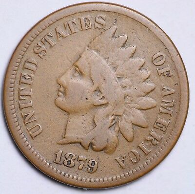 1879 Indian Head Cent Penny / Circulated Grade Good / Very Good 95% Copper Coin