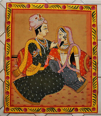 Antique Oil Linen Canvas Painting Buddhist Indian Radha Krishna Wedding Painting