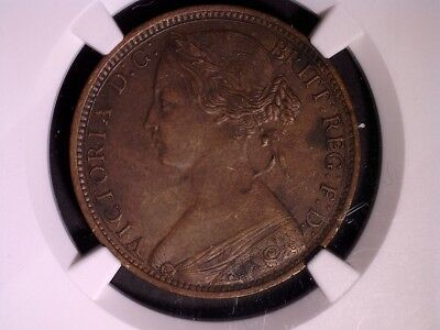 Great Britain 1 Penny 1862 AU50 BN NGC KM#749.2 Rare Variety