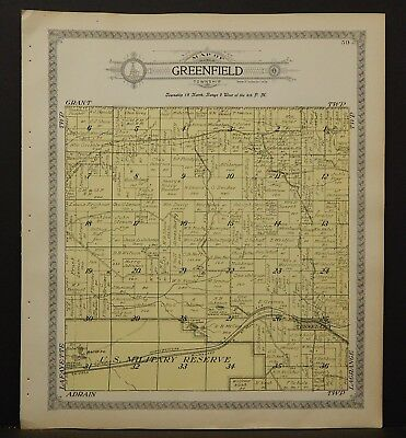 Wisconsin Monroe County Map Greenfield Township 1915  J18#20