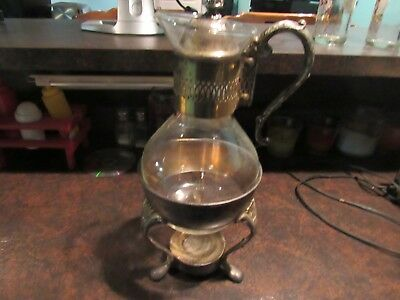 Raimond Silver Plate Glass Coffee Caraff Pitcher, Lid, Candle Light, & Base