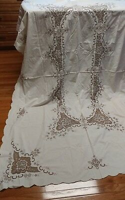 """Vintage italian burato lace embroidery tablecloth 100""""×65"""""""