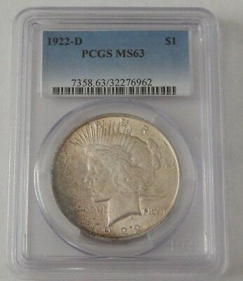 1922 D PCGS MS63 Peace Silver Dollar