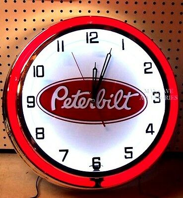 "18"" PETERBILT Logo Sign Double Neon Clock Pete"