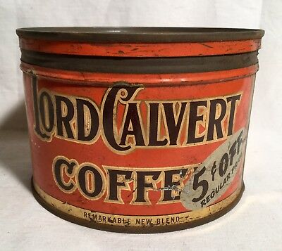 LORD CALVERT COFFEE TIN CAN ( Levering Coffee Co. Baltimore Md.)