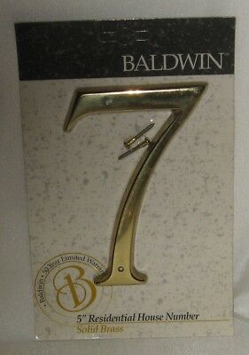 """Baldwin #7 Solid Brass Residential House Brass Numbers 5"""" Hand Crafted New"""