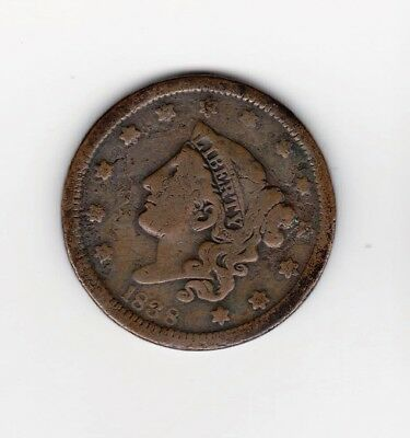 1838 Large Penny 179 Years Old--Nice Color/ Detail    Free Shipping