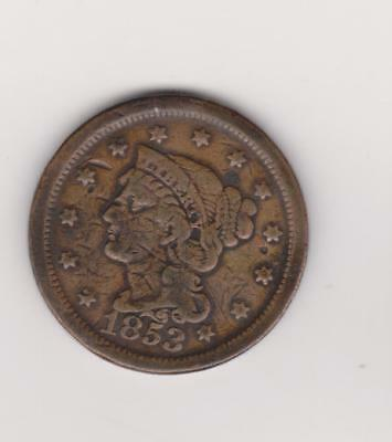 1853 Large Penny 164 Years Old--Good Color/ Detail    Free Shipping