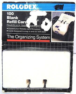 "100 Rolodex Rotary File Card Refills 2-1/4"" x 4"" Unruled NEW Free Shipping"
