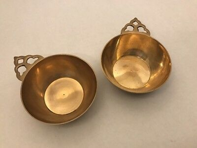 "1 PAIR Antique Heavy SOLID BRASS TRINKET BOWL 4"" Diam x 1.5"" High Made in India"