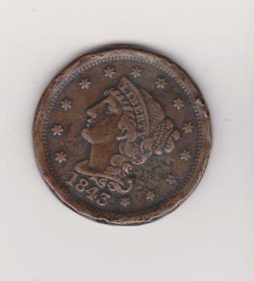 1843 Large Penny 174 Years Old--Nice Color/ Detail    Free Shipping