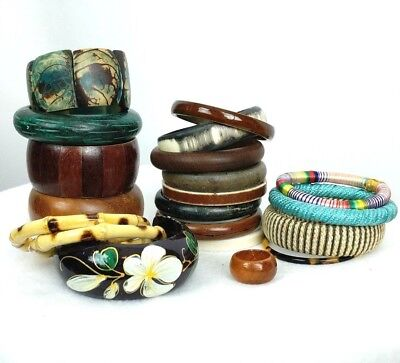 Lot of 20 Wood Bamboo Textile Chunky Bracelets Bangles Ring Large Jewelry Lot