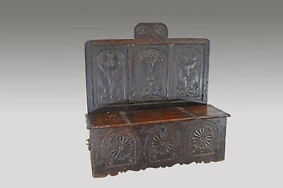 Rare 17th century carved oak marriage box settle hall bench
