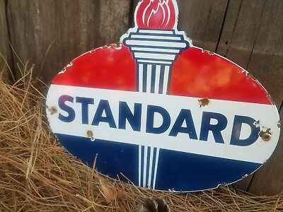 "Standard Oil"" vintage pump plate lubester gas station advertising porcelain sign"