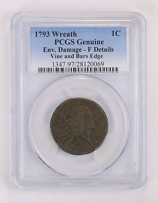 Genuine 1793 Wreath Flowing Hair Large Cent - PCGS Graded *2161