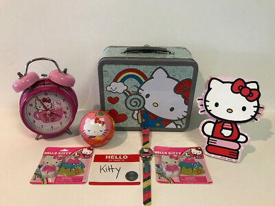 Lot Hello Kitty Puzzle Ball Alarm Clock Watch Lunchbox Stand Up Note Pad +