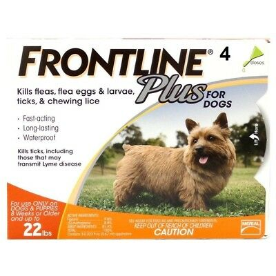 New 4 Pack Merial Frontline Plus Flea & Tick For Dogs 5-22 Lbs 4 Months Supply