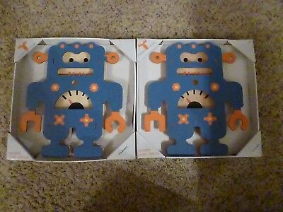 "TWO (2) Modern Moose ""Blue Robot"" Wood Wall Decor - Kids Bedroom - NEW"