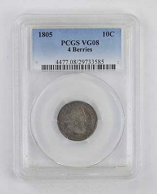 VG08 1805 Draped Bust Dime - 4 Berries - PCGS Graded *2863
