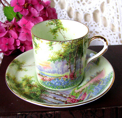 Aynsley Birch Trees Garden Scene Light Green Demitasse Cup and Saucer, c.1930s