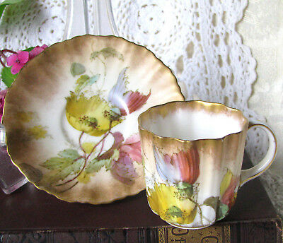 Doulton Burslem Antique Hand Painted Poppy Demitasse Cup and Saucer, c1896