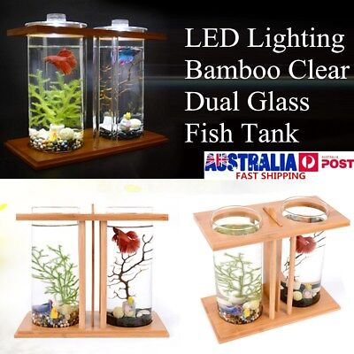 LED Lighting Bamboo Clear Dual Glass Fish Tank Home Desktop Aquarium Container