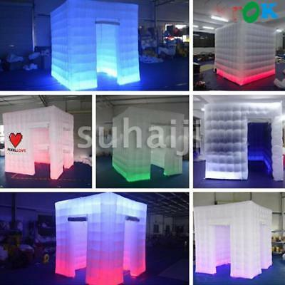 2 Door Inflatable LED Light Air Photo Booth Tent 2.5M for Weddings Birthdays USA