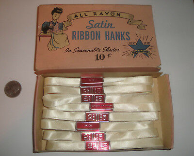 "Vintage 1940's? Rayon White Satin 3/8"" Wide Ribbon Hanks 8@10ft Total 80ft Boxed"