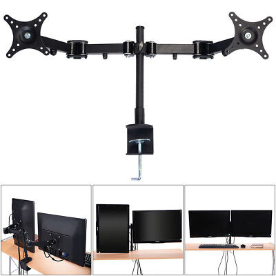 Dual HD LCD LED Desk Mount Monitor Stand Bracket Screen TV 2 Arm Holder 14~24''