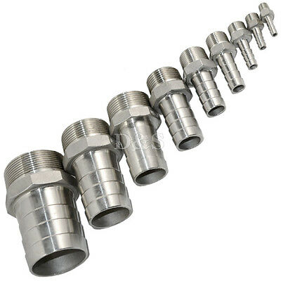 Male Thread Pipe Fitting x Barb Hose Tail Connector Stainless Steel BSPT