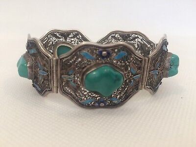 Chinese Export Silver Filigree And Enamel Turquoise Stones Bracelet